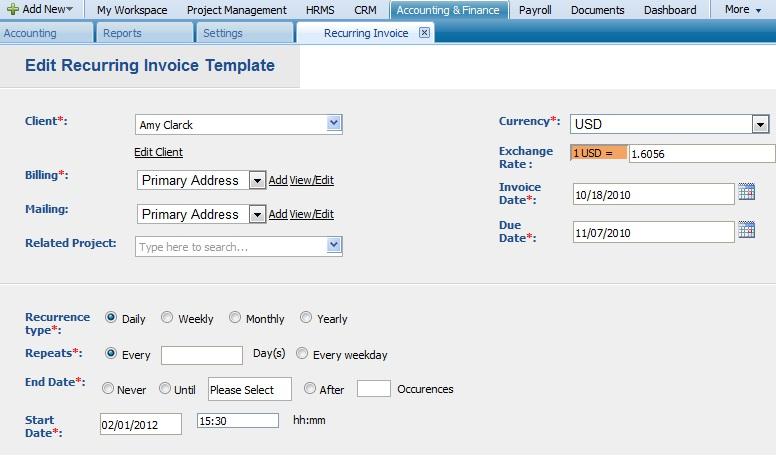 Edit Recurring Invoice Template