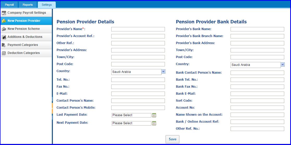 payroll settings