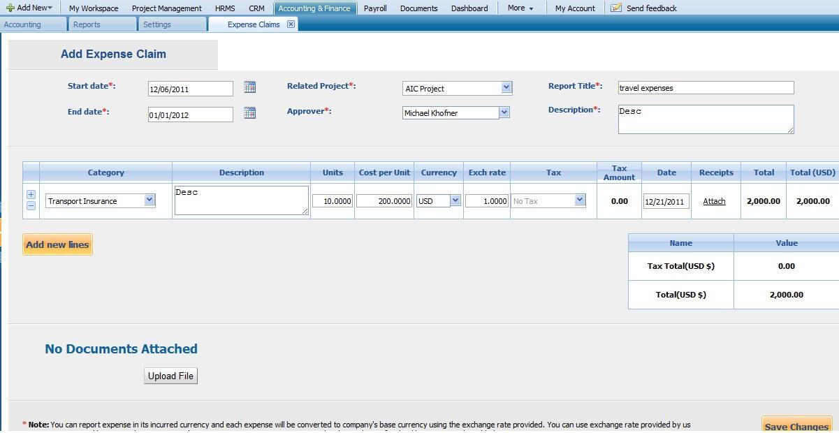 Edit Expense/Report Claim