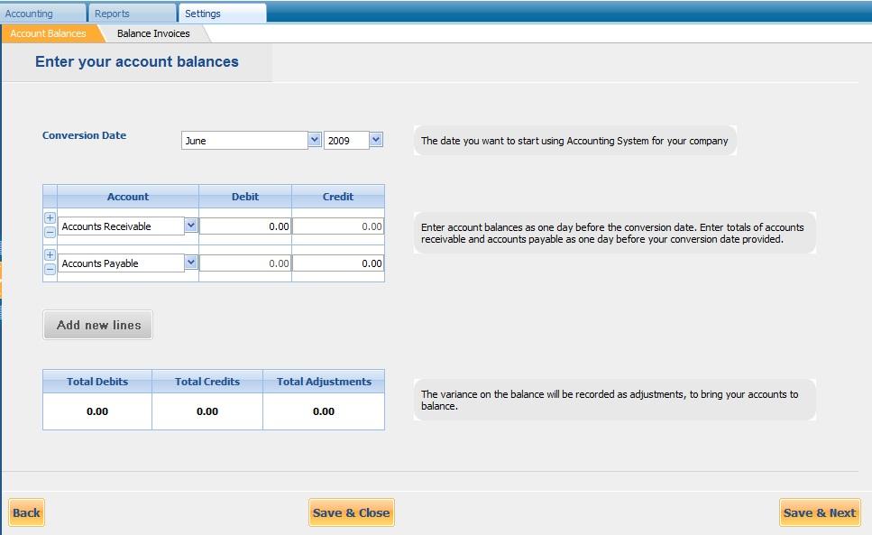 Account Balances Settings