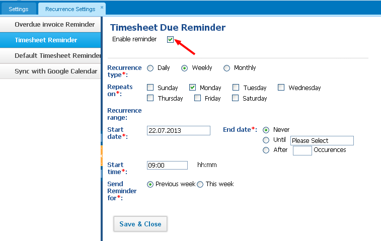 Timesheet Reminder