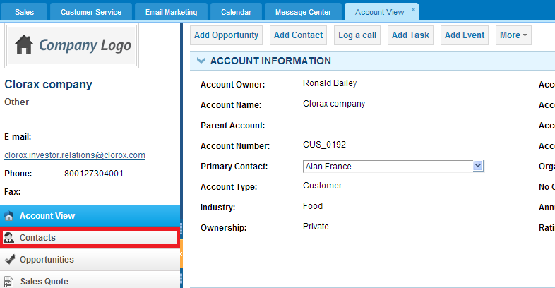 Contacts in accounts CRM section