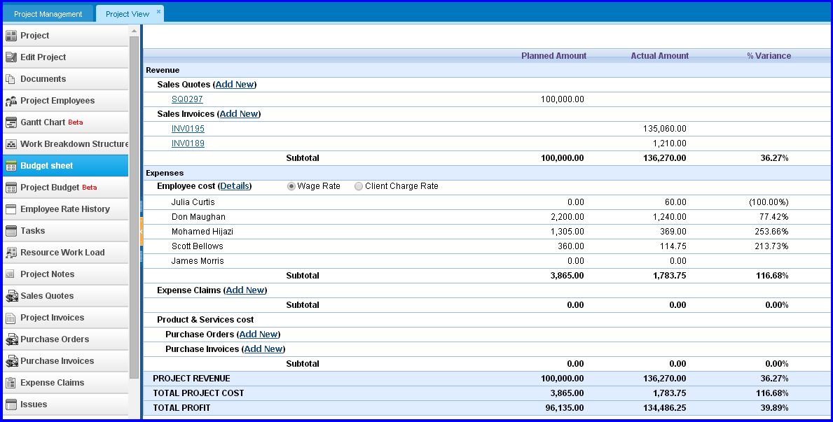 project budget sheet