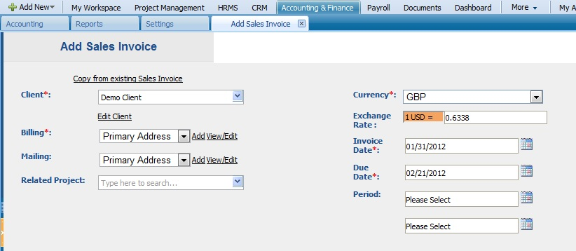 Add Sales Invoice