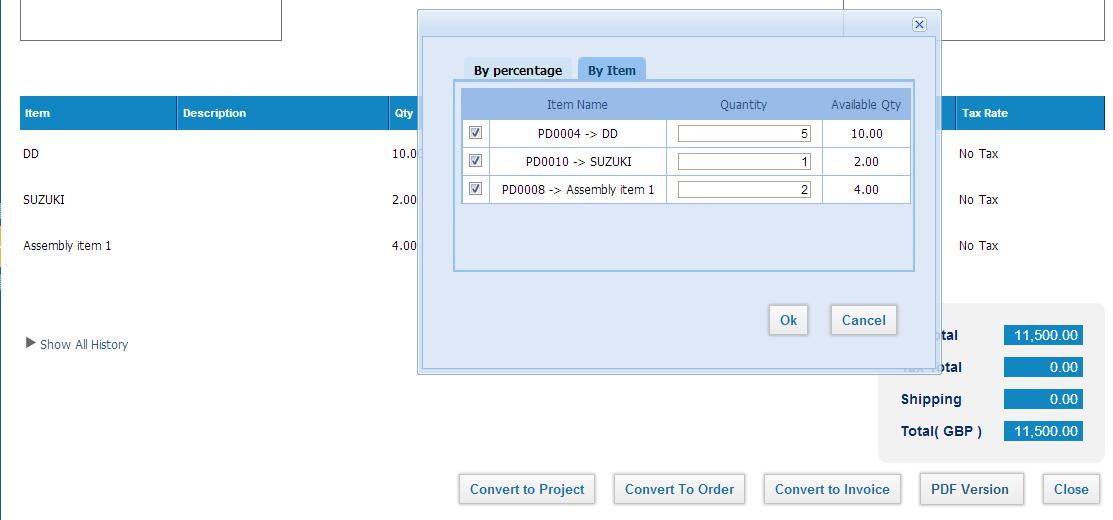 Progress Invoicing