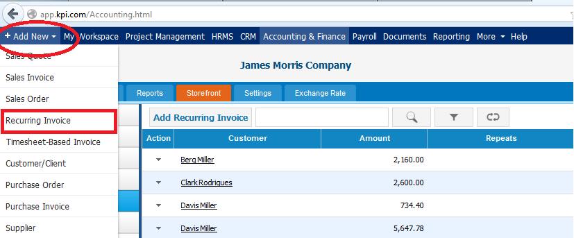 Recurring Invoice