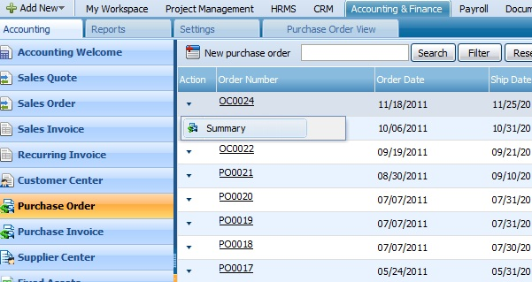 Purchase Order Summary
