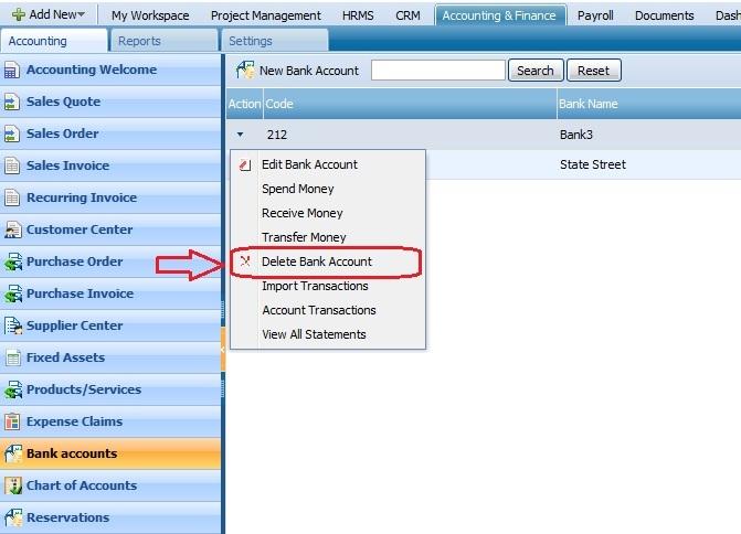 Bank Account Delete Account