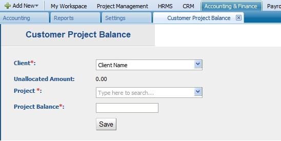 Add Customer Project Balance