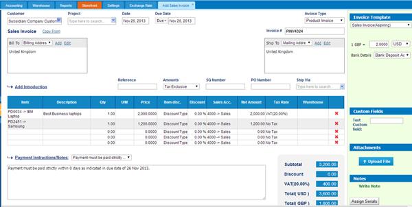 Adding Sales invoice