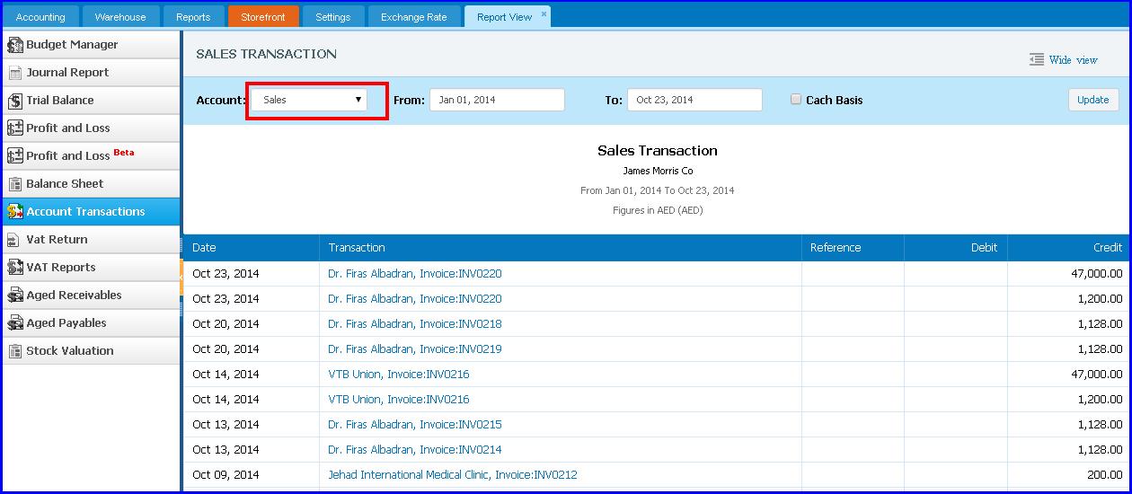 Account transactions